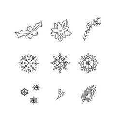 Christmas monoline holiday decoration icons set vector