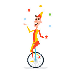 Circus juggler with balls rides on a unicycle vector