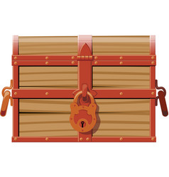Closed wooden chest vector