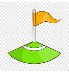 Corner flag on soccer field icon cartoon style vector