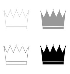 crown the black and grey color set icon vector image