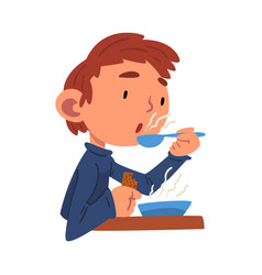 Cute boy having lunch preschool kid daily routine vector
