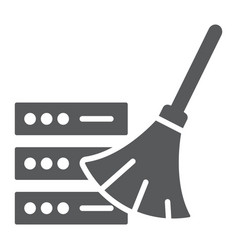 Database cleaning glyph icon data and analytics vector