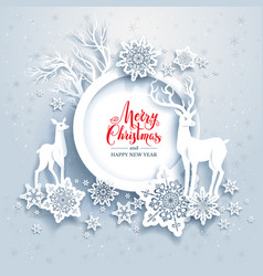 Deers winter frame vector