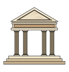 drawing bank building facade financial investment vector image