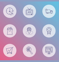 E-commerce icons line style set with quality vector