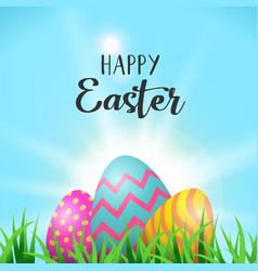 Easter eggs greeting card in spring garden grass vector