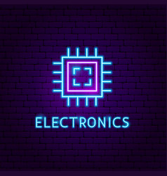 electronics neon label vector image
