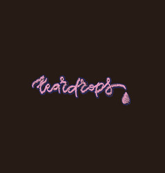 Embroidery hand drawn lettering teardrops vector