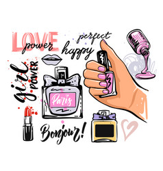 Female hand holds nail polish and lettering around vector