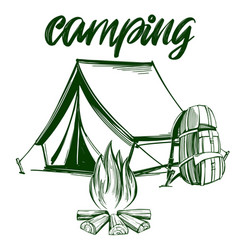 fire emblem rest in forest camping hand vector image
