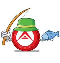 Fishing ark coin character cartoon vector
