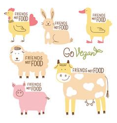 Friends not food set farm animals vector