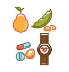 fruits and different pills vector image