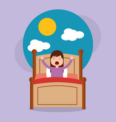 Girl in bed waking up in the morning with cloud vector