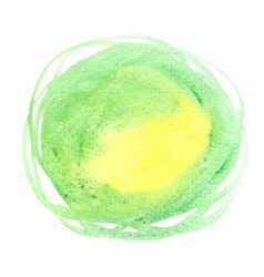 green and yellow brush stroke round banner vector image