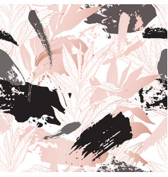 hand drawn abstract floral background line art vector image