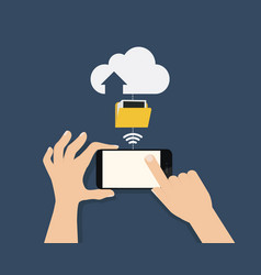 hand hold smartphone and touch with connected vector image