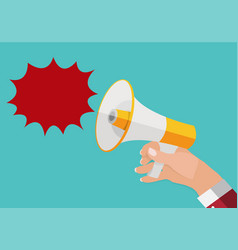 hand holds megaphone and outgoing speech bubble vector image