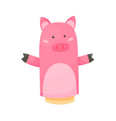 Hand or finger puppets play doll pig cartoon vector