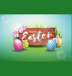 happy easter holiday with painted egg vector image