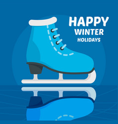 happy winter holidays skating concept background vector image