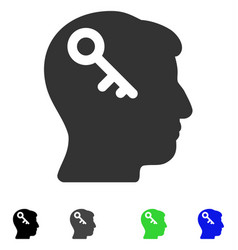 Head key flat icon vector