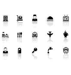 hotel icons set with reflection silhouette vector image vector image