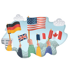 Human hands holds flag of different countries vector