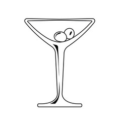 Icon of cocktail glass with olives vector
