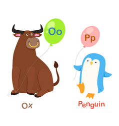 isolated alphabet letter o-oxp-penguin vector image