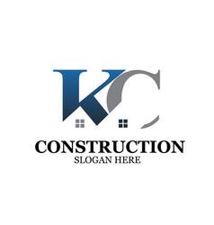 k c construction logo designs simple vector image