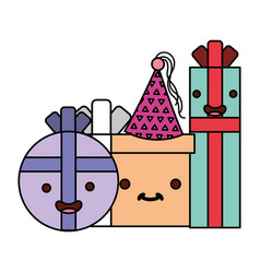 kawaii birthday gift boxes cartoon vector image