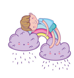 kid on clouds cartoon vector image