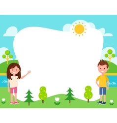 Kids and Summer Landscape Poster Template vector image