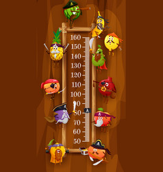 Kids height chart with pirates and corsair fruits vector