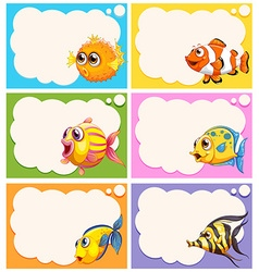 Label design with cute fish vector image