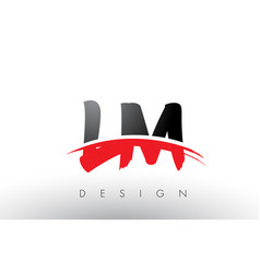 lm l m brush logo letters with red and black vector image