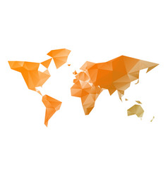 low poly map of world in shades of orange vector image