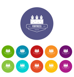 luxury fortress icons set color vector image