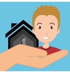 Man hand house key vector