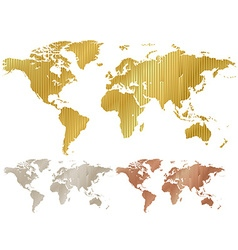 Map of the world made of corrugated metal copper vector