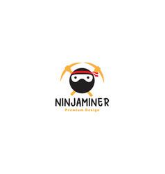 Miner ninja logo symbol icon design graphic vector