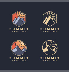 Minimalist summit landscape logo set vector