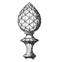Modern knob finial increasingly vintage engraving vector