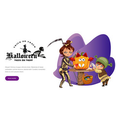 Mother with son carving halloween pumpkin poster vector