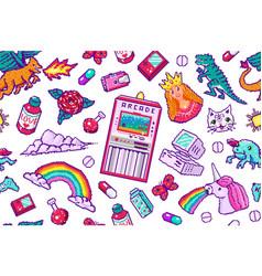 pixel art 8 bit objects seamless pattern retro vector image