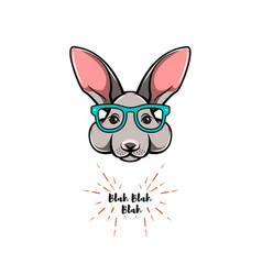 Portrait of rabbit in glasses smart bunny geek vector