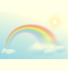 Rainbow sun and clouds sky vector