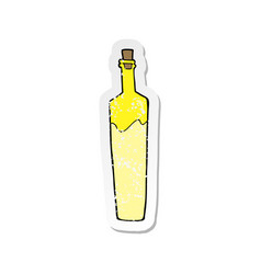 Retro distressed sticker of a cartoon posh bottle vector